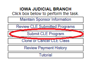 Submit CLE on Iowa Judicial Branch